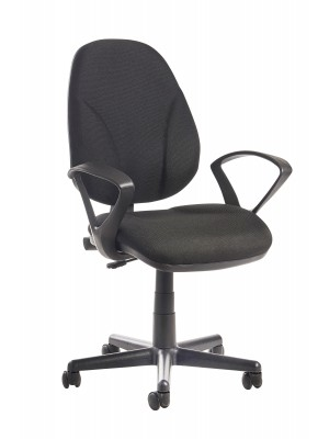 Bilbao fabric operators chair with lumbar support and fixed arms - black