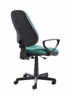 Bilbao fabric operators chair with lumbar support and fixed arms - green