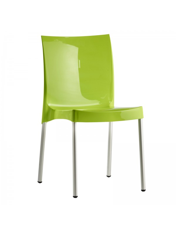 Orb Lightweight Stacking Chairs In Green (box Of 4). One Piece Plastic Seat