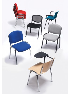 Taurus meeting room chair (box of 4) with chrome frame and writing tablet - red