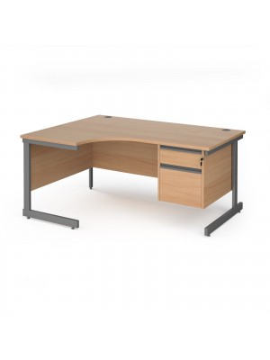 Contract 25 left hand ergonomic desk with 2 drawer pedestal and graphite cantilever leg 1600mm - beech top