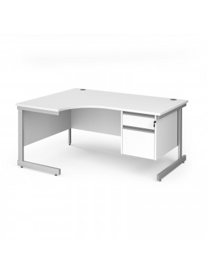 Contract 25 left hand ergonomic desk with 2 drawer pedestal and silver cantilever leg 1600mm - white top