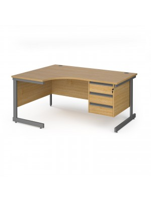 Contract 25 left hand ergonomic desk with 3 drawer pedestal and graphite cantilever leg 1600mm - oak top