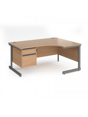 Contract 25 right hand ergonomic desk with 2 drawer pedestal and graphite cantilever leg 1600mm - beech top