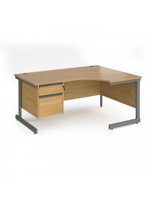 Contract 25 right hand ergonomic desk with 2 drawer pedestal and graphite cantilever leg 1600mm - oak top