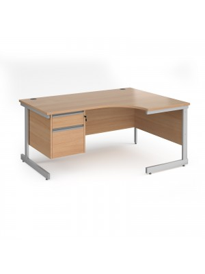 Contract 25 right hand ergonomic desk with 2 drawer pedestal and silver cantilever leg 1600mm - beech top