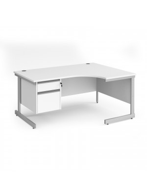 Contract 25 right hand ergonomic desk with 2 drawer pedestal and silver cantilever leg 1600mm - white top
