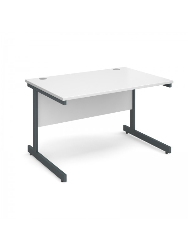Contract 25 straight desk 1200mm x 800mm - graphite cantilever frame ...