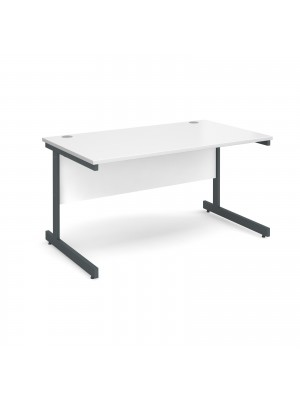 Contract 25 straight desk 1400mm x 800mm - graphite cantilever frame, white top