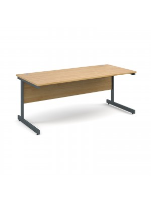 Contract 25 straight desk 1800mm x 800mm - graphite cantilever frame, oak top