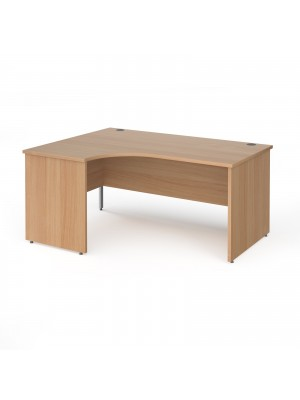 Contract 25 left hand ergonomic desk with panel ends and silver corner leg 1600mm - beech