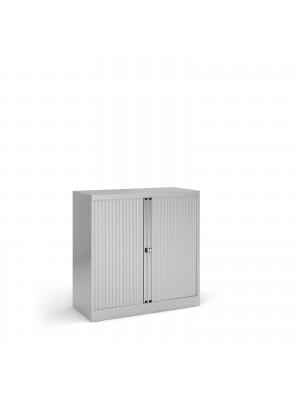 Steel low tambour cupboard 1000mm high - silver