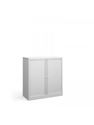 Steel low tambour cupboard 1000mm high - white
