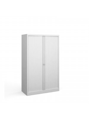 Steel medium tambour cupboard 1570mm high - white