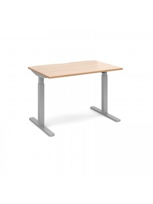 Elev8 Mono straight sit-stand desk 1200mm x 800mm - silver frame, beech top