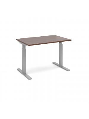 Elev8 Mono straight sit-stand desk 1200mm x 800mm - silver frame, walnut top