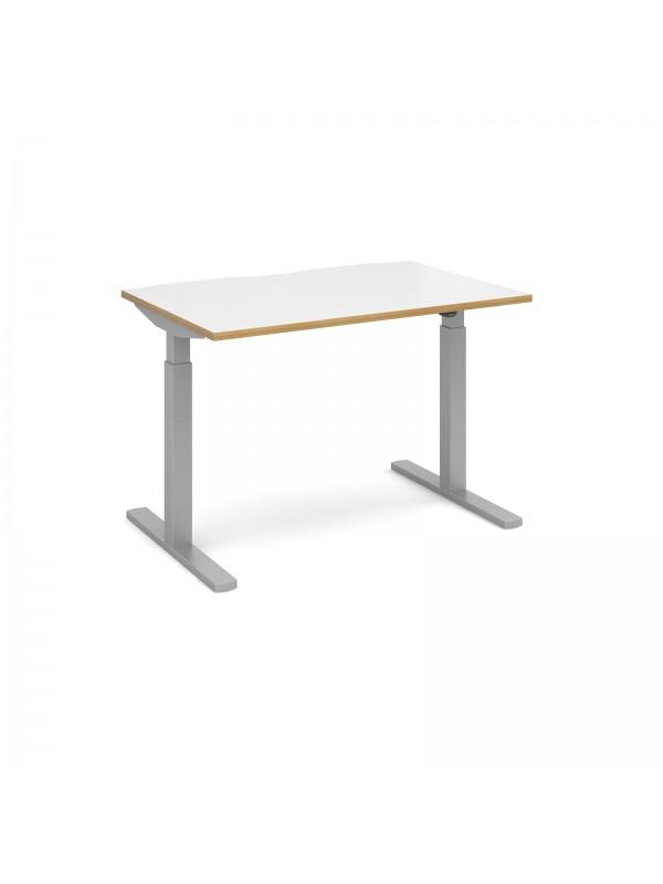 Elev8 Mono straight sit-stand desk 1200mm x 800mm - silver frame ...