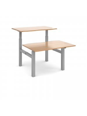 Elev8 Mono sit-stand back-to-back desks 1200mm x 1650mm - silver frame, beech top