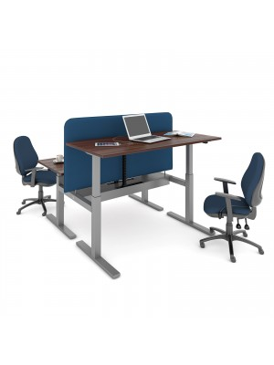 Elev8 Mono sit-stand back-to-back desks 1200mm x 1650mm - silver frame, walnut top