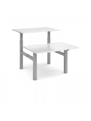 Elev8 Mono sit-stand back-to-back desks 1200mm x 1650mm - silver frame, white top