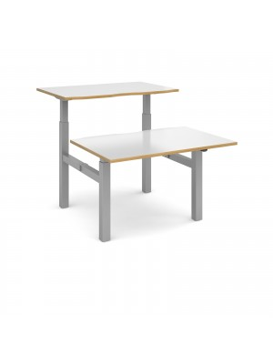 Elev8 Mono sit-stand back-to-back desks 1200mm x 1650mm - silver frame, white top with oak edge