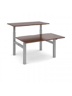 Elev8 Mono sit-stand back-to-back desks 1400mm x 1650mm - silver frame, walnut top