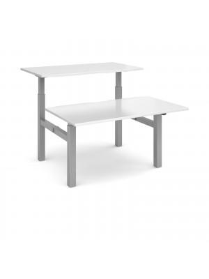 Elev8 Mono sit-stand back-to-back desks 1400mm x 1650mm - silver frame, white top