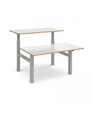 Elev8 Mono sit-stand back-to-back desks 1400mm x 1650mm - silver frame, white top with oak edge
