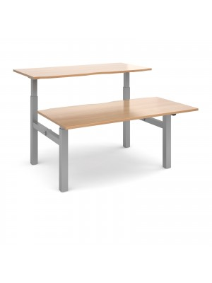 Elev8 Mono sit-stand back-to-back desks 1600mm x 1650mm - silver frame, beech top