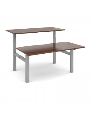 Elev8 Mono sit-stand back-to-back desks 1600mm x 1650mm - silver frame, walnut top