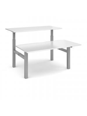 Elev8 Mono sit-stand back-to-back desks 1600mm x 1650mm - silver frame, white top