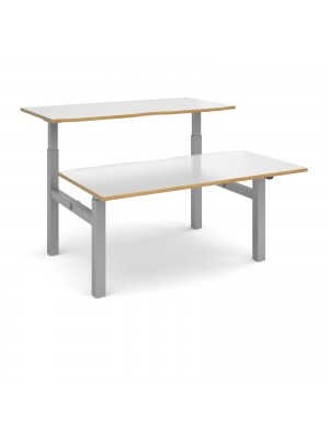 Elev8 Mono sit-stand back-to-back desks 1600mm x 1650mm - silver frame, white top with oak edge