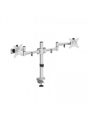 Luna double flat screen monitor arm - silver