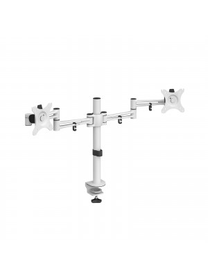 Luna double flat screen monitor arm - white