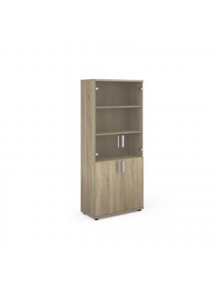 Magnum combination unit with glass upper doors 1840mm high - light oak