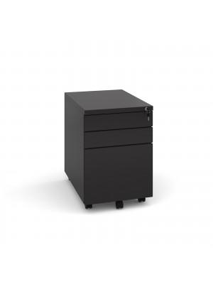 Steel 3 drawer mobile pedestal - black