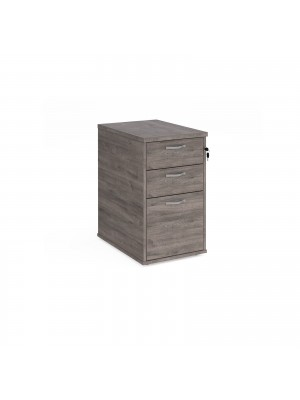Desk high 3 drawer pedestal with silver handles 600mm deep - grey oak