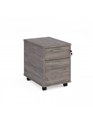 Mobile 2 drawer pedestal with silver handles 600mm deep - grey oak