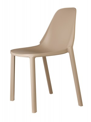Remix plastic stackable cafe chair - cream