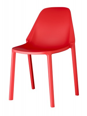 Remix plastic stackable cafe chair - red
