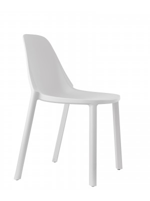 Remix plastic stackable cafe chair - white