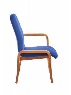 Yealm modular beech wooden frame chair with left hand arm 540mm wide - blue