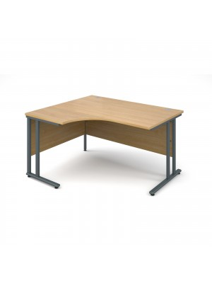 Maestro 25 GL left hand ergonomic desk 1400mm - graphite cantilever frame, oak top