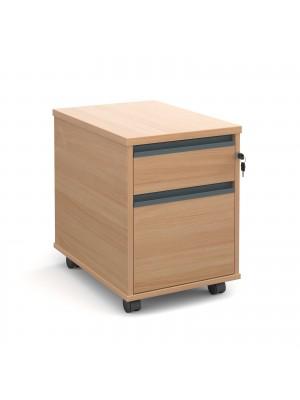 Mobile 2 drawer pedestal with graphite finger pull handles 600mm deep - beech