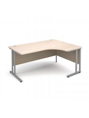 Maestro 25 SL right hand ergonomic desk 1600mm - silver cantilever frame, maple top