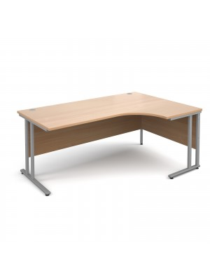 Maestro 25 SL right hand ergonomic desk 1800mm - silver cantilever frame, beech top