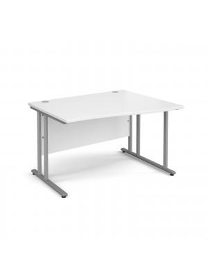 Maestro 25 SL right hand wave desk 1200mm - silver cantilever frame, white top
