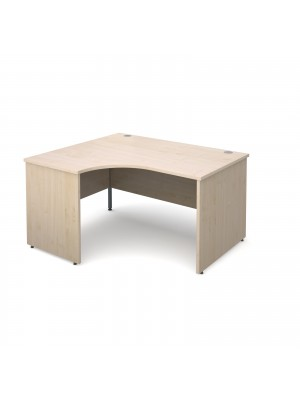 Maestro 25 PL left hand ergonomic desk 1400mm - maple panel leg design