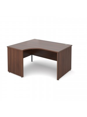 Maestro 25 PL left hand ergonomic desk 1400mm - walnut panel leg design