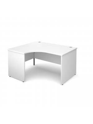 Maestro 25 PL left hand ergonomic desk 1400mm - white panel leg design